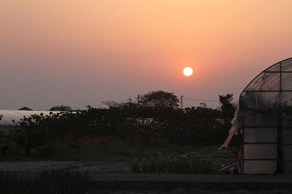 安来の夕日
